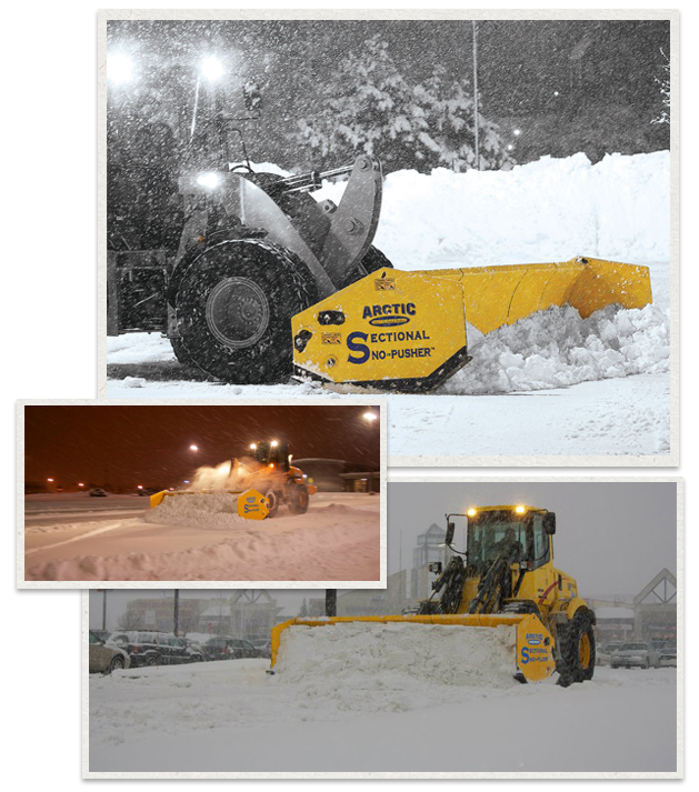 three separate images of Arctic Sectional Sno-Pusher being used  sc 1 st  OPICO : sectional snow plow - Sectionals, Sofas & Couches
