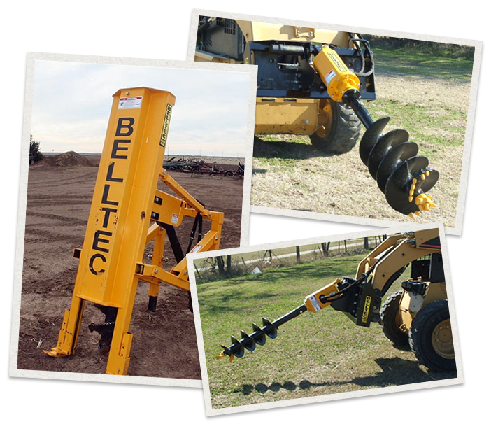 three separate images of Belltec Machinery being used