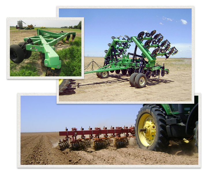 three separate images of Bigham Ag Machinery being used