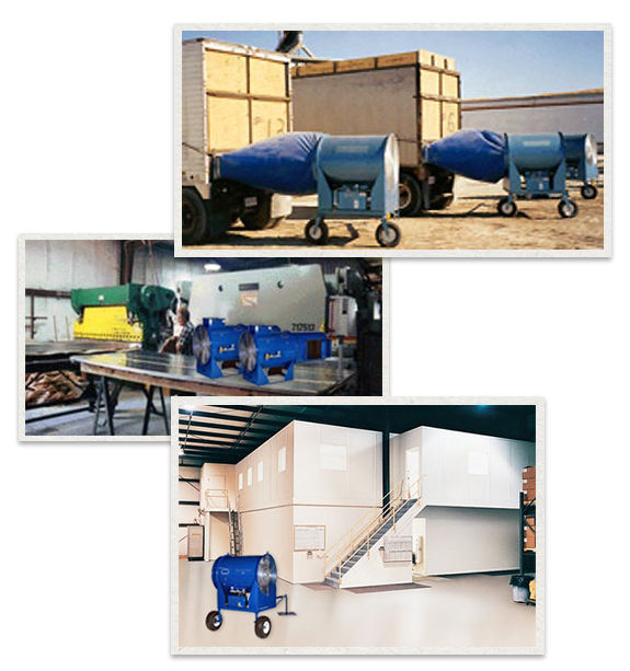 three separate images of Blueline Dryers being used