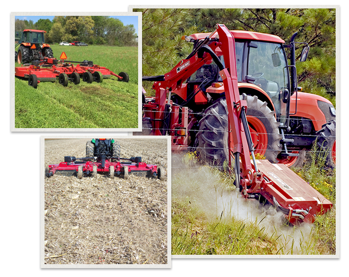 three separate images of Bush Hog Machinery being used