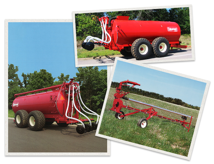 three separate images of Calumet Machinery being used