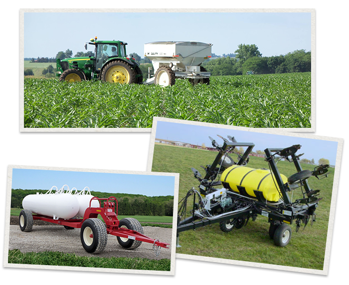 three separate images of Dalton Ag Products being used