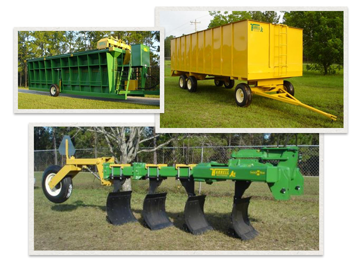 three separate images of HArrell Ag Products being used