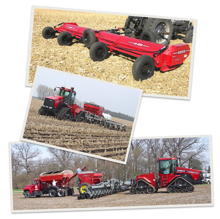 three separate images of Hiniker Machinery being used