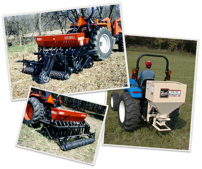 three separate images of Kasco seeders being used
