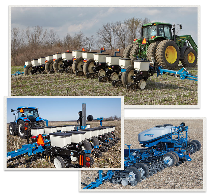 three separate images of Kinze planters being used