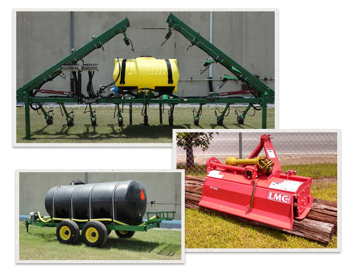 three separate images of LMC Ag products being used