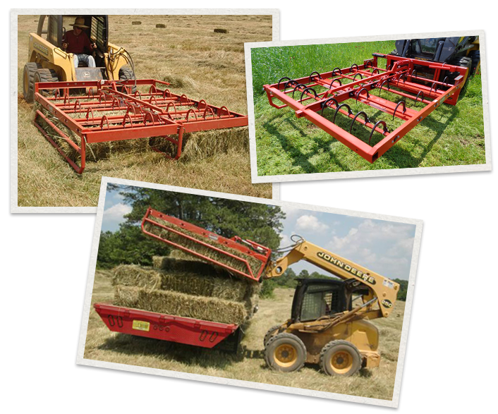 three separate images of the Maxilator Accumagrapple lifting hay