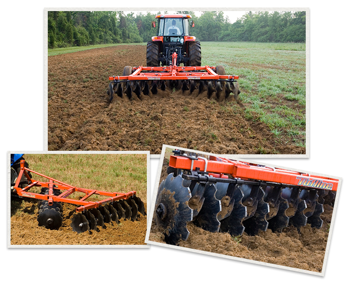 three separate images of Monroe Tufline Offset Disc Wheel Harrows being used